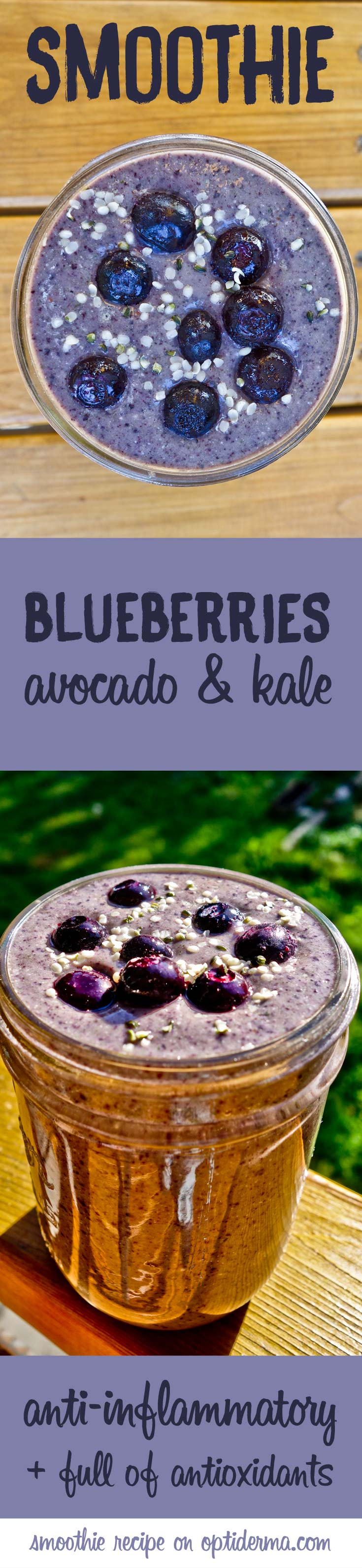 Anti-inflammatory smoothie: blueberries, avocado, kale