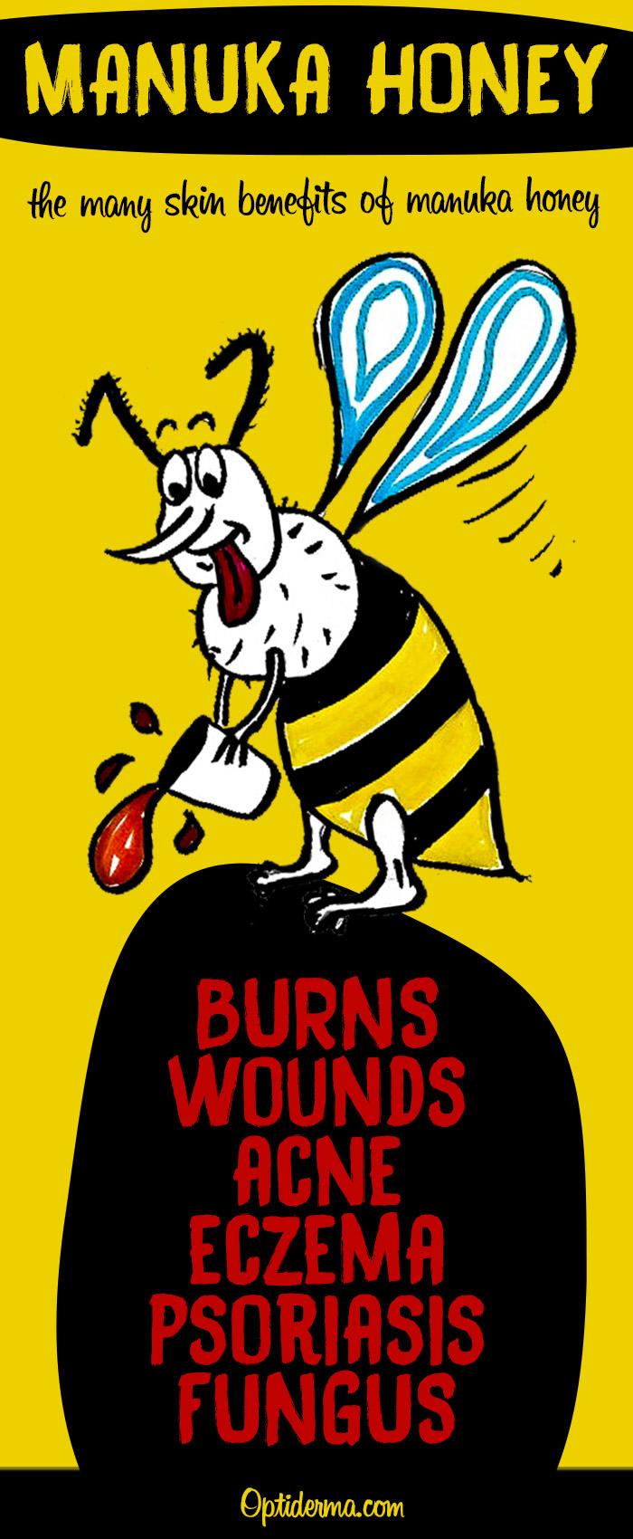 Manuka Honey Has great Skin Benefits (wounds, burns, acne, eczema, psoriasis, fungus)