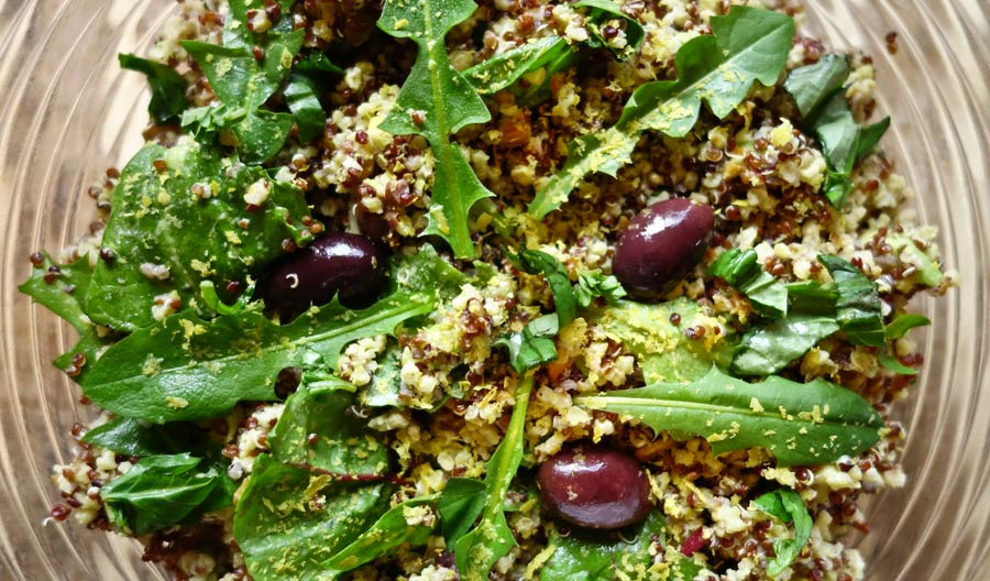 quinoa avocado salad with almonds and olives