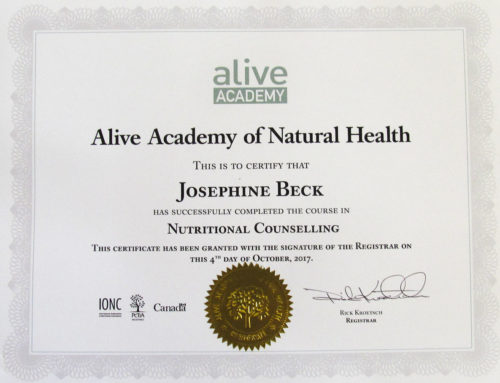 Alive Academy Certificate Nutritional Counselling
