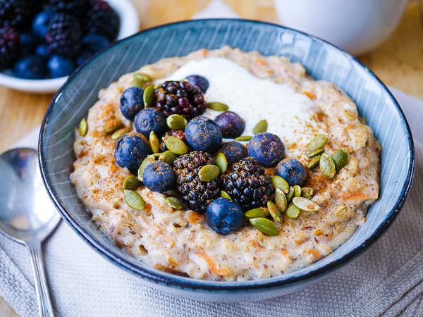 Carrot Oat Porridge Breakfast Bowl
