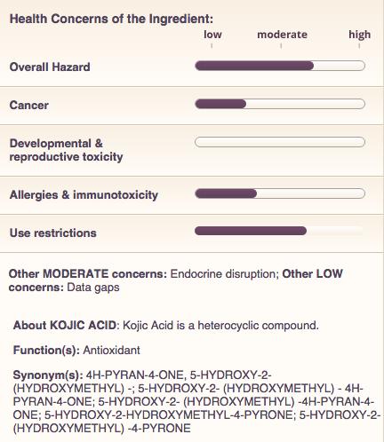 Kojic acid health concerns